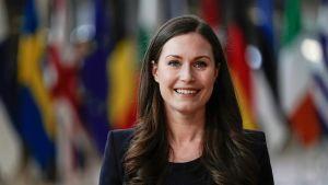 Pääministeri Sanna Marin Euroopan unionin huippukokouksessa Brysselissä.