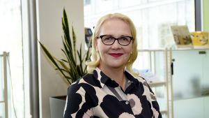 Opetushallituksen perusopetuksen ja varhaiskasvatuksen päällikkö Marjo Rissanen kuvattuna opetushallituksen lukuvuoden alun infotilaisuudessa Helsingissä 6. elokuuta.
