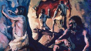 Taideteos, joka kuvaa varhaista ihmistä tekemässä seremoniallista biisoniluolamaalausta vanhalla kivikaudella.