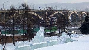 Jenisei-joen varsi Krasnojarskissa Itä-Siperiassa Venäjällä.