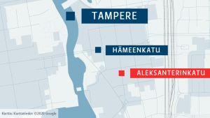 Tampereen keskusta, Hämeenkatu ja Aleksanterinkatu