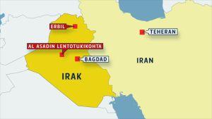 irakin kartta jossa iskukohteet