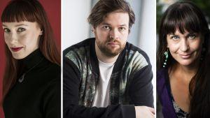 Kirjailijat Aura Nurmi, Johannes Ekholm ja Saara Cantell.