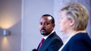 Etiopian ja Norjan pääministerit Abiy Ahmed Ali ja Erna Solberg.