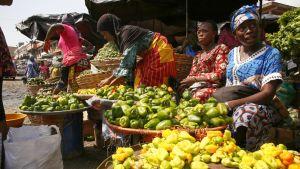 Kuvassa koreja, joissa on myynnissä olevia hedelmiä. Niiden takana istuu myyjiä. Kuva on otettu Abidjanissa Norsunluurannikolla.