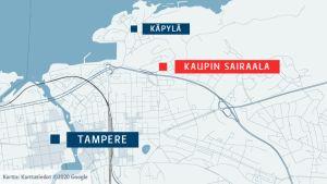 Kaupin sairaala-alue sijaitsee Tampereella Käpylän ja Petsamon omakotialueen välissä.