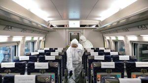 Suojahaalareihin pukeutuneet työntekijät desinfioivat junanvaunua Kiinan Wuhanissa.
