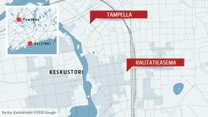 Kartta eri alueiden sijainneista Tampereella