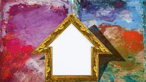 Taiteilijan paletti ja talon ääriviivat