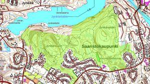 Kuopion Jynkänvuoren ulkoilualue kartalla.