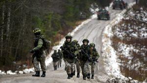 Varusmiehet taisteluharjoituksessa puolustusvoimien Kaakko 19 -pääsotaharjoituksessa .