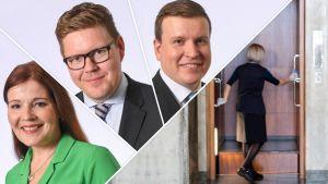 Kuva jaettu neljään osaan. Kuvassa poliitikot Sarkomaa, Lindtman ja Tavio sekä kuva siivoojasta joka puhdistaa Eduskuntatalon hissiä
