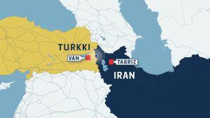 Kartta Turkin ja Iranin raja-alueesta.