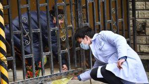 Hengitysmaskiin pukeutunut mies ojentaa asukkaalle lääkettä Kiinan Wuhanissa.