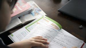 Alakoululainen opiskelee matematiikkaa kotonaan.
