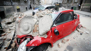 Maanjäristyksen aiheuttamaa tuhoa Zagrebissa.