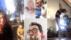 Ihmisten selfie-kuvia