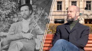 Kaksi kuvaa rinnastettu: Kuva Unosta  istumassa penkillä ja  kirjailija Viljami Puustinen istuu samaisella paikalla toisessa kuvassa