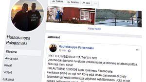 Kuvakaappaus Palsanmäkien Facebookista.