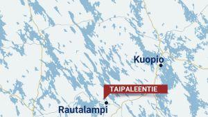 Karttagrafiikka Rautalammin Taipaleentiestä.