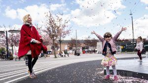 Pikkutyttö heittää kirsikankukkia ilmaan.