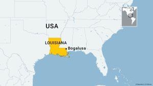 Kartassa Louisianan osavaltio ja Bogalusan kaupunki