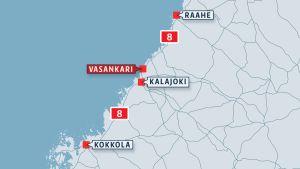 Kartta jossa näkyy Kalajoen Vasankari.