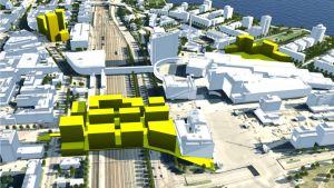 Jyväskylässä suunnitellaan hehtaarin kokoista kansikorttelia ratapihan ja nelikaistaisen rantaväylän päälle yhdistämään keskusta Lutakkoon ja satamaan.