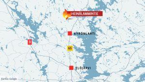 Kartta Heinälammintien sijainnista