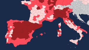 Osittainen kartta Euroopan kuolleisuudesta koronan aikana.