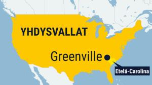 Yhdysvaltojen kartta, joka kertoo Greenvillen kaupungin ja Etelä-Carolinan osavaltion sijainnit. Ne sijaitsevat Yhdysvaltojen itärannikolla.