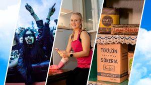 Kolme kuvaa vierekkäin: yleisöä heavy-festareiilla, nainen siivoaa, vanha sokeripaketti