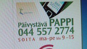 Päivystävä pappi -mainos netissä.