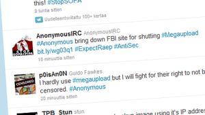 Ruutukaappaus Twitter-keskustelusta 21. tammikuuta 2012.