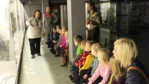 Lapsiryhmä katsoo museon lasivitriiniä.