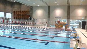 Impivaaran uimahallissa on paljon tuttua. Puupaneloinin sävy on vaaleampi.