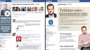 Pekka Haaviston ja Sauli Niinistön Facebookin kampanjasivustot.