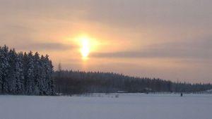 Aurinko ja halo-ilmiö lumisen pellon yllä
