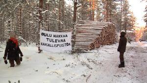 Luontoaktivistit päivystivät Sanginjoen mielenosoituspaikalla tammikuussa 2012.