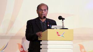 """Tunisian presidentti Moncef Marzouki pitää puhetta """"Syyrian ystävien"""" tapaamisessa 24. helmikuuta 2012."""