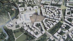 Kankaan alueen ilmettä arkkitehtikilpailun voittajatyössä.