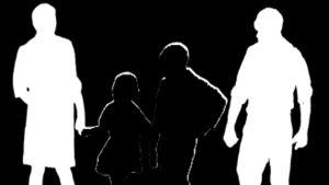Mustavalkoinen kuva, jossa perheen siluetti.