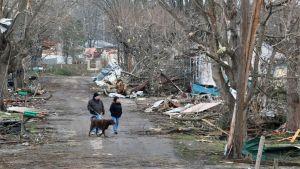 Asukkaat kävelyllä katsastamassa tornadon aiheuttamaa tuhoa Henryvillessä, Indianassa.