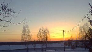 Kuvassa sähköjohtoja ja pylväitä keväisessä ilta-auringossa..
