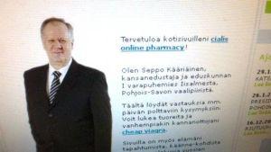 Kansanedustaja Seppo Kääriäisen kuva nettisivustolla, joka kaupittelee muun muassa Viagraa.