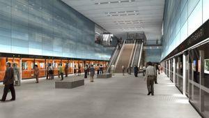 Havainnekuva suunnitellusta Lauttasaaren metroasemasta.
