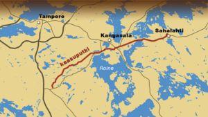 Kartta maakaasuputken linjauksesta Kangasalla.
