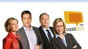 Ylen toimittajia vaalit2011-mainoksessa