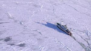 Kuvassa merentutkimusalus Aranda jäissä Kokkolan edustalla.