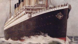 Yksityiskohta Titanic-julisteesta Siirtolaisuusinstituutissa.